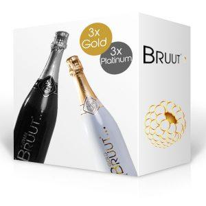 BRUUT champagne, doos 6 flessen (3 Gold en 3 Platinum)