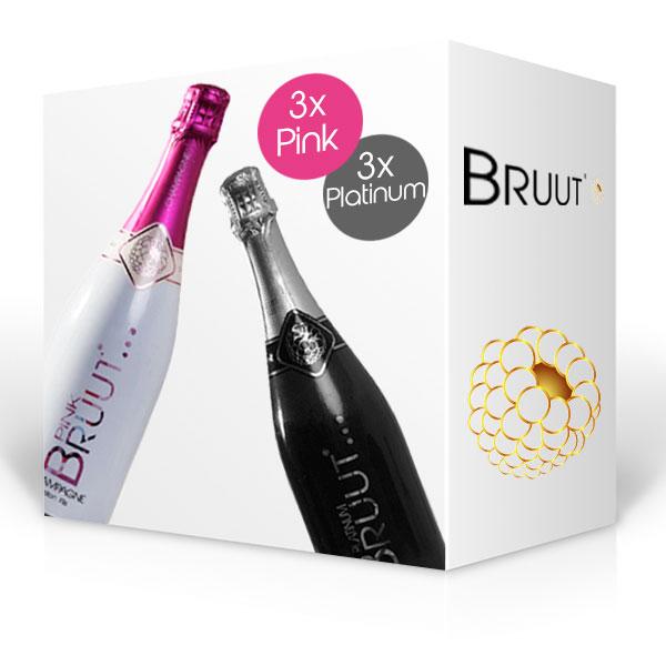 BRUUT champagne, doos 6 flessen Pink en Platinum