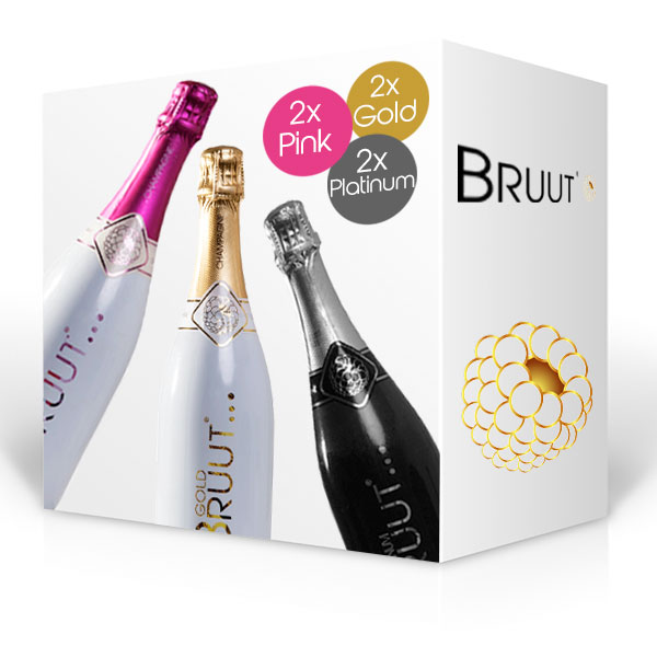 BRUUT champagne, doos 6 flessen Gold, Pink en Platinum